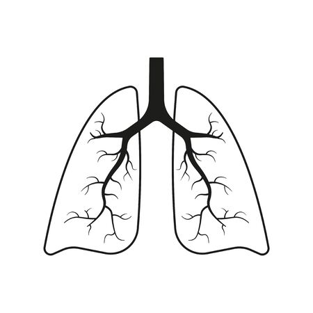 Human lungs icon. Simple linear image. Isolated vector on a white background.