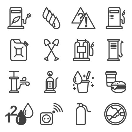 Car gas station icons set. A package of images containing fuels, services and activities at a gas station. Isolated linear vector on a white background. Stock Illustratie