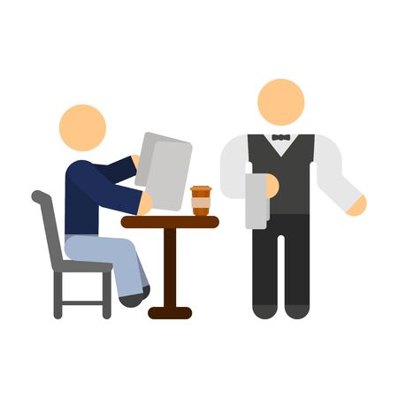 A simple image of a man sitting at a table with a cup of coffee, who is reading a magazine and a waiter near him. Isolated vector illustration on a white background.