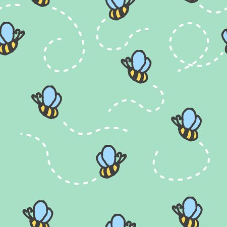 Seamless pattern with cartoon hand-drawn bees on a green background. The trail from the flight of insects is made by a white dashed line. Vector illustration Çizim