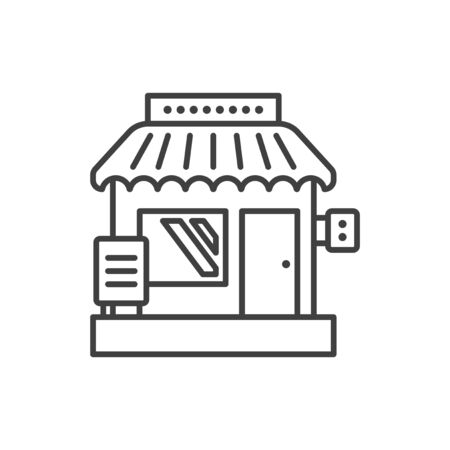 Small business icon. Creative image of a small shop. Linear vector isolated on white background. Illustration