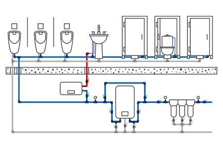 Illustration of a public toilet room with a detailed layout of the supply networks of water supply and sanitation. Monochrome image except supply pipelines. Vector on a white background