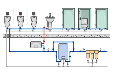 Illustration of a public toilet room with a detailed layout of the supply networks of water supply and sanitation. Cartoon performance of all sanitary devices. Vector on a white background
