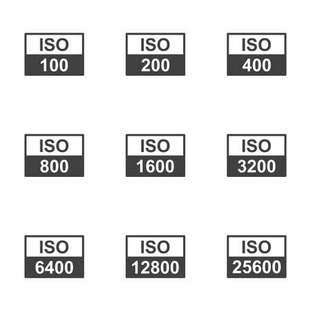 Set of icons with the image of various options used in the iso camera. A simple and understandable sign for adjusting the sensitivity of the camera to light. Isolated vector on a white background.