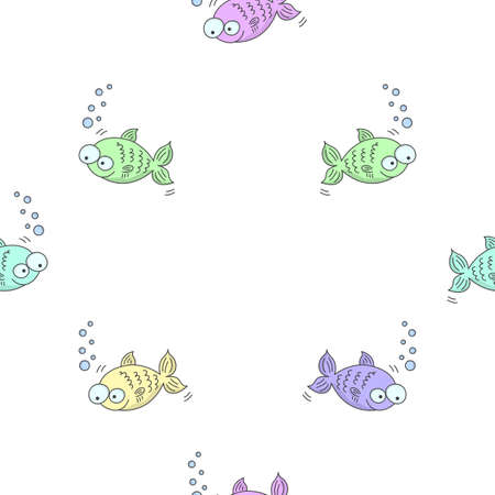 Seamless pattern with colorful cartoon fishes. Freehand drawing. Filling a diamond shaped space. Vector illustration on a white background.