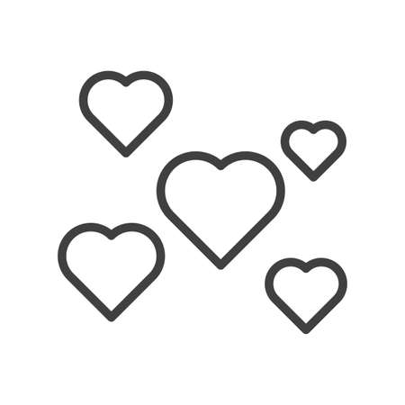 Icon of a set of hearts of different sizes scattered over the area. Linear design using a thick line. Isolated vector on white background.