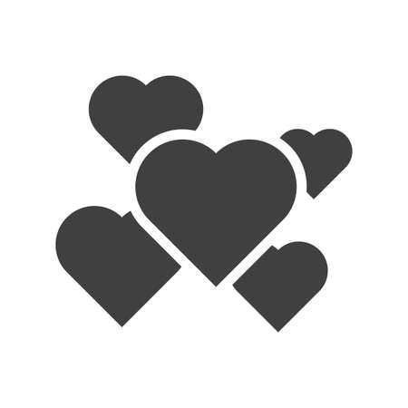 Icon of a set of hearts of different sizes scattered over the area. The location is one after another. Isolated vector glyph on white background.