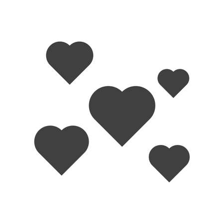 Icon of a set of hearts of different sizes scattered over the area. Isolated vector glyph on white background. Illusztráció
