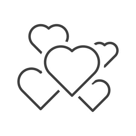 Icon of a set of hearts of different sizes scattered over the area. Linear execution using a thin line. Isolated vector on white background.