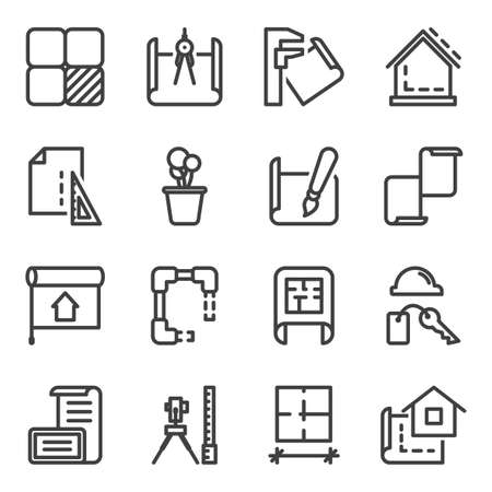 Interior design icons set. Contains the design, construction and processing stages of design creation processes. Isolated vector on white background.