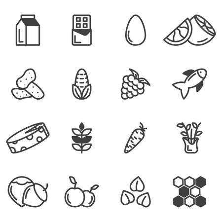 A set of 16 icons with various food allergies. Minimalistic linear images of vegetables, fruits and seafood. Isolated vector on white background.