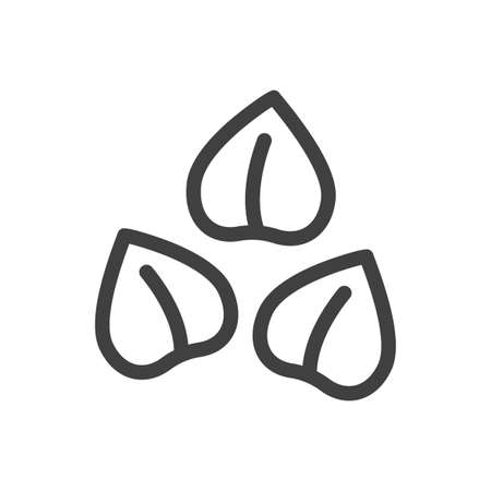 Buckwheat icon. Several seeds are loosely arranged. Simple minimalistic image. Isolated vector on white background.