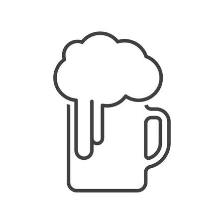 Beer mug icon. Simple linear image on a pure white background. Isolated vector. Illusztráció