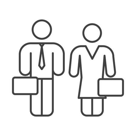 Business people icon. Man and woman with diplomats. Simple linear image. Isolated vector on a pure white background.
