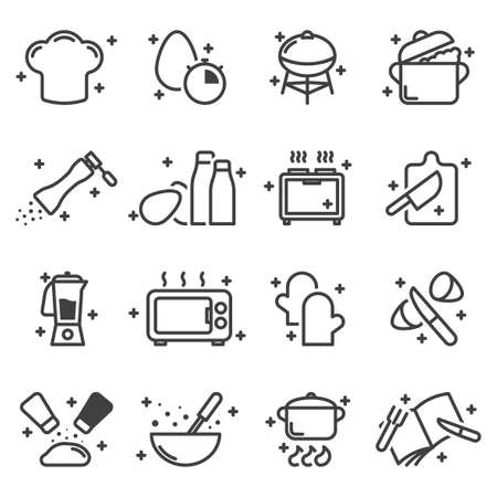 Cooking icons set. Simple linear images associated with the cooking process. Isolated vector on white background. Illusztráció