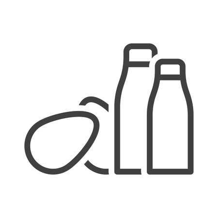 Icon of a pair of bottles with milk and eggs. Simple linear image on a white background. Illusztráció