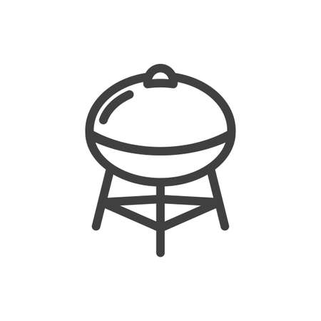 Barbecue grill icon. Cooking food over the fire. Simple linear image. Isolated vector on white background. Illusztráció