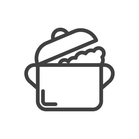 Icon of a saucepan with an open lid and steam coming out of it. Simple linear image. Isolated vector on white background. Illusztráció