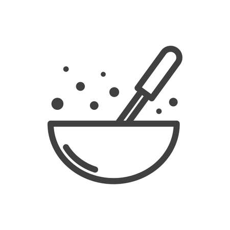 Icon of a culinary bowl with a whisk for mixing. Simple linear image. Isolated vector on white background.
