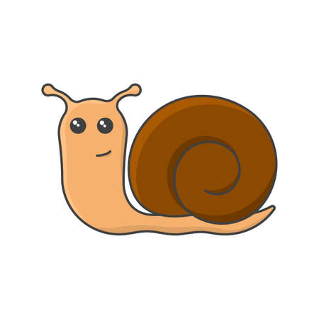 Snail cartoon icon. Cute clam image. Isolated vector illustration on a white background without unnecessary details.