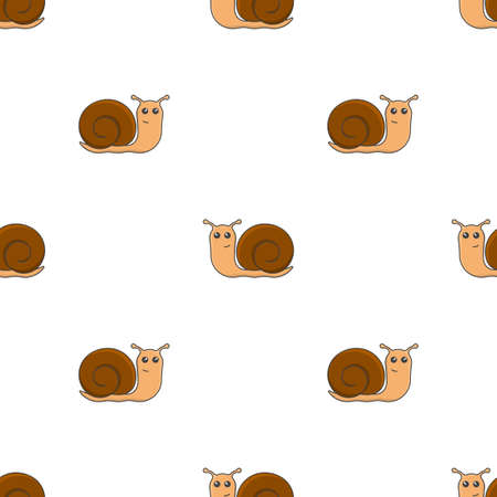 Seamless pattern with the image of a multicolored cartoon snail. The movement of snails in different directions. Isolated vector images on a pure white background.
