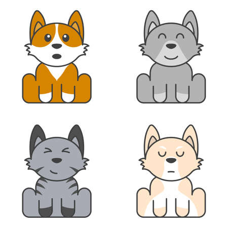 A set of cute puppies with multi-colored fur and different faces. Surprised, contented, brooding and happy dog. Isolated vector illustration on white background.