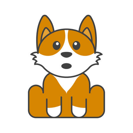 Cute puppy in orange and white colors. Surprised face. Isolated vector illustration on white background.