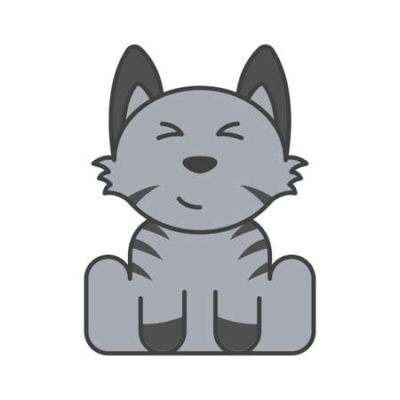 Cute puppy in gray and blue colors with dark stripes. Satisfied and contented muzzle. Isolated vector illustration on white background.