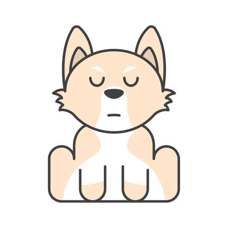 Cute puppy in beige colors. Serious muzzle. Meditation. Isolated vector illustration on white background.