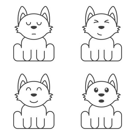 A set of cute puppies with different faces for self-coloring. Surprised, contented, brooding and happy dog. Isolated vector illustration on white background.