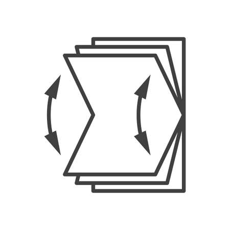Folding screen reveal icon. Direction arrows for opening and closing. Simple image. Isolated vector on white background. Illusztráció
