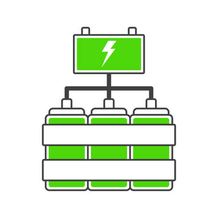 Battery charge icon from power sources connected to each other. Cartoon version of cans with energy feeding the accumulator battery. Isolated vector illustration on white background. Illusztráció