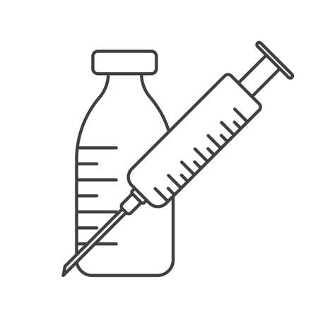 Icon of a medical syringe and a jar of medicine or saline solution on white 向量圖像