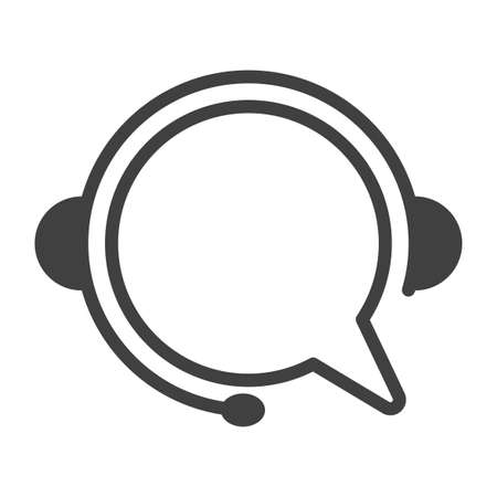 Call center icon. Minimalistic linear performance of a chat bubble in headphones with a microphone. Isolated vector on white background.