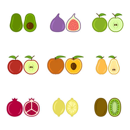 Set of cute cartoon fruit icons, includes apples, pears, figs, kiwi, avocado and others. An image of whole and cut fruits next to each other. Isolated vector illustration on white background. Illusztráció