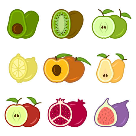 Set of cute cartoon fruit icons, includes apples, pears, figs, kiwi, avocado and others. An image of whole and cut fruit. Isolated vector illustration on white background. Illusztráció