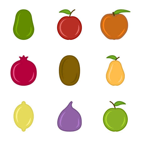 Set of cute cartoon uncut fruit icons. The set includes - apples, pears, figs, avocados, lemon and others. Isolated vector on white background.