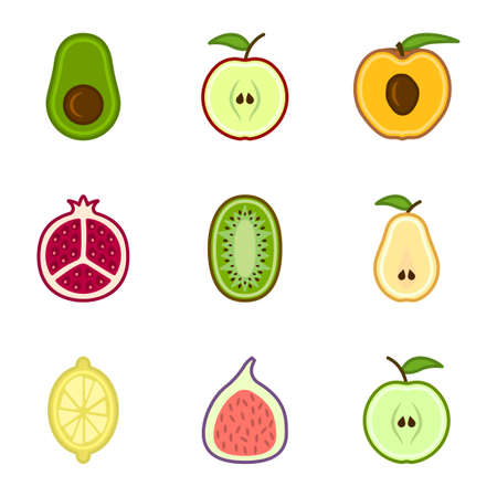 Set of cute cartoon cut fruit icons. The set includes - apples, pears, figs, avocados, lemon and others. Isolated vector on white background.