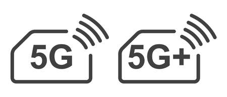 Icon 5G and 5G plus. Simple minimalistic image of a SIM card with high-speed Internet access according to modern wireless standards. Isolated vector on white background.