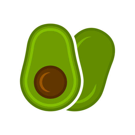 Minimalistic cartoon cutaway avocado icon. The location is one by one. Isolated vector illustration on white background. Illusztráció