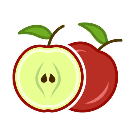 Minimalist cartoon icon of a red apple in the section. Location one after the other. Isolated vector illustration on white background.
