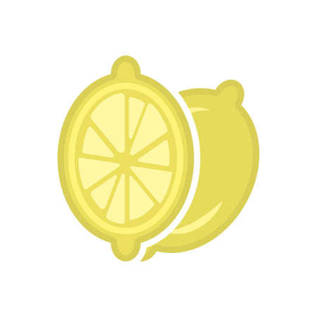Minimalistic cartoon lemon sectional icon. Location one after the other. Isolated vector illustration on white background. Illusztráció