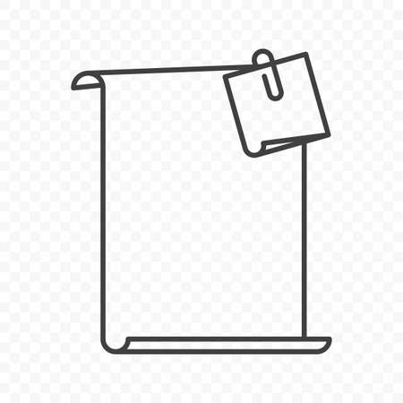 Icon blank sheet of paper with a sticker attached thereto using staples. Simple linear image on transparent png background. Edit in any editor. Isolated vector.
