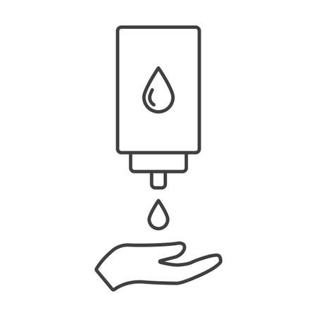 Hand sanitizer dispensing icon vector on white