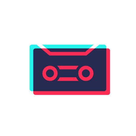 Audio cassette icon in  style with superimposed colors. Simple color image for your design. Isolated vector illustration on white background.