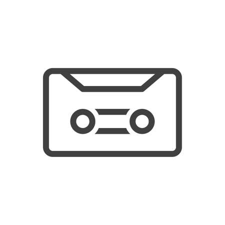 Audio cassette icon. Simple linear image. Isolated vector on a pure white background.