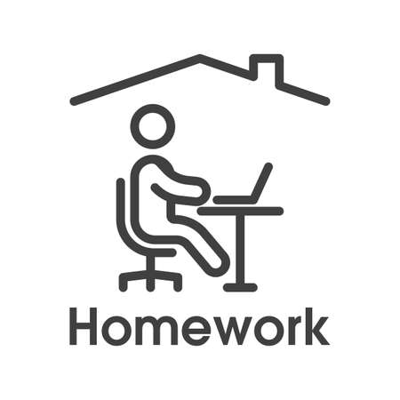 Homework icon. Simple linear image of a man sitting at a table with a laptop under the roof of a house. Isolated vector on white background.