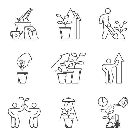 Plant growth, planting, development and care icons set. Courtship and growth in one set. Simple linear images. Isolated vector on white background.