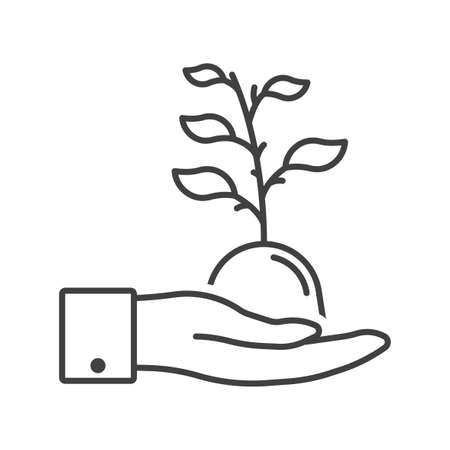 Plant development icon in human hands. Sprout in hand. Simple linear image. Isolated vector on white background.