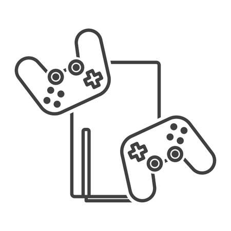 Game console icon with joysticks. Latest generation trend, simple minimalistic image. Stylish design. Isolated vector on white background.